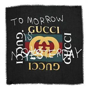 GUCCI Modal Silk Coco Capitan Logo Scarf Black